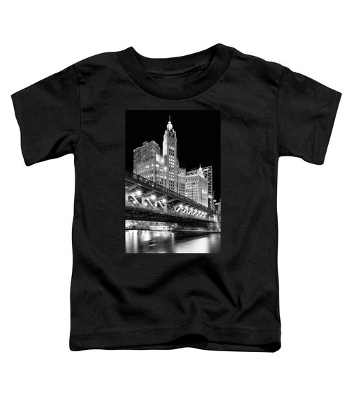 Wrigley Building At Night In Black And White Toddler T-Shirt