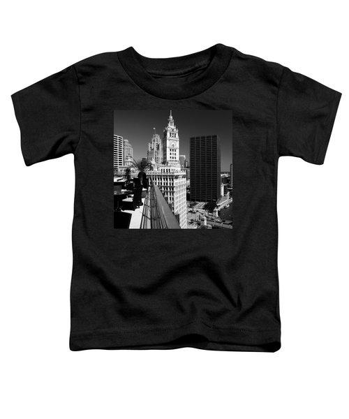 Wrigley Clock Tower Skyline Black White Toddler T-Shirt