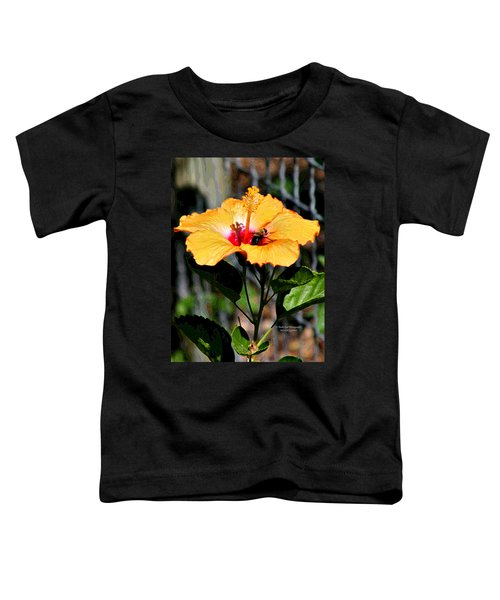 Yellow Bumble Bee Flower Toddler T-Shirt