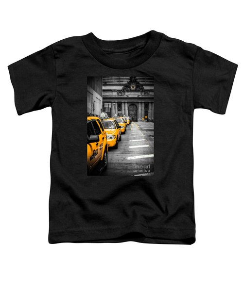 Yellow Cabs Waiting - Grand Central Terminal - Bw O Toddler T-Shirt