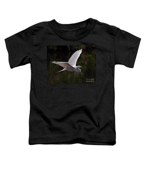Great Egret Flying Toddler T-Shirt