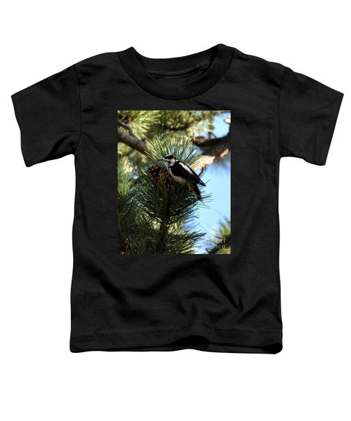 Hairy Woodpecker On Pine Cone Toddler T-Shirt