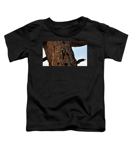 Hairy Woodpecker On Pine Tree Toddler T-Shirt