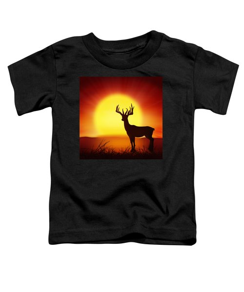 Silhouette Of Deer With Big Sun Toddler T-Shirt