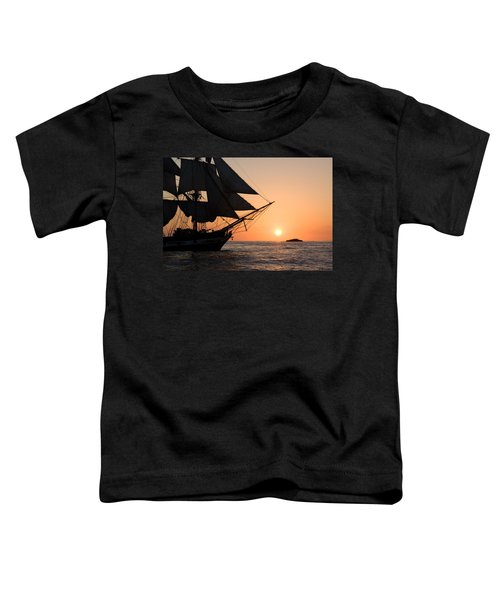 Silhouette Of Tall Ship At Sunset Toddler T-Shirt