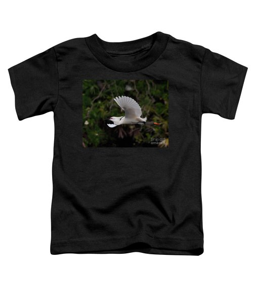 Snowy Egret In Flight Toddler T-Shirt