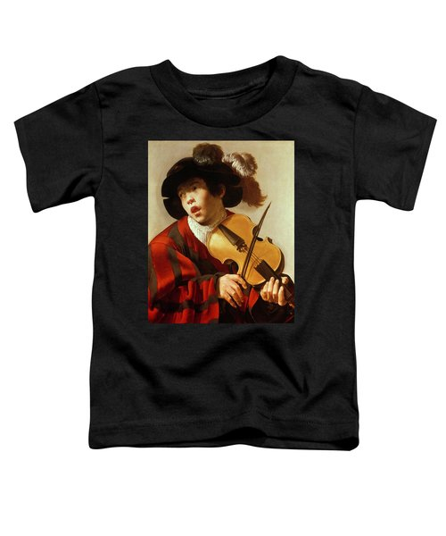 Boy Playing Stringed Instrument And Singing Toddler T-Shirt