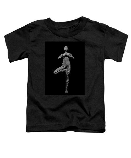 0027-dja Yoga Balance Black White Zebra Stripe Photograph By Chris Maher Toddler T-Shirt