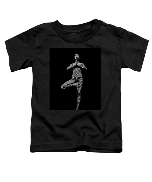 0027-dja Yoga Balance Black White Zebra Stripe Photograph By Chris Maher Toddler T-Shirt