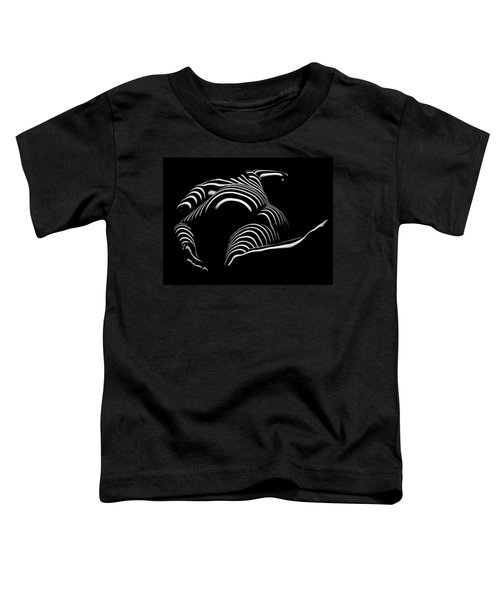 0758-ar Rear View Bbw Zebra Woman Large Full Figured Powerful Female Black And White Abstract Maher Toddler T-Shirt