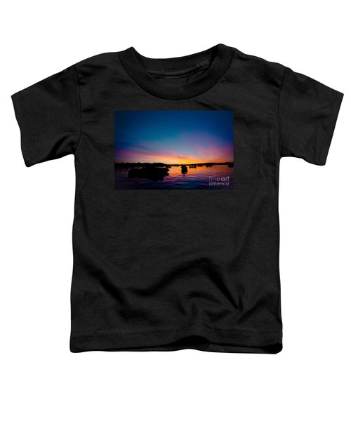 Boats And Sunrise Above Lake Water Summer Time Latvia Ezera Skanas Toddler T-Shirt
