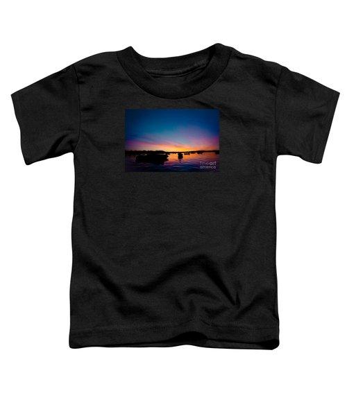 Boats And Sunrise Above Lake Water Summer Time Latvia Ezera Skanas Toddler T-Shirt