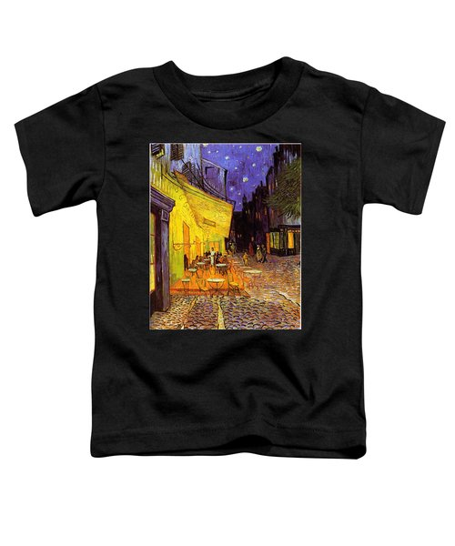 Toddler T-Shirt featuring the painting Cafe Terrace At Night by Van Gogh