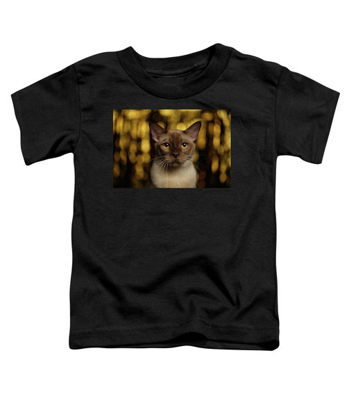 Closeup Portrait Burmese Cat On Happy New Year Background Toddler T-Shirt