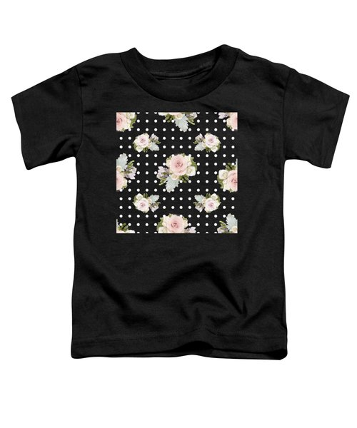 Floral Rose Cluster W Dot Bedding Home Decor Art Toddler T-Shirt