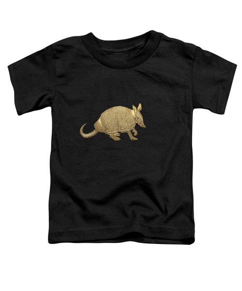 Gold Armadillo On Black Canvas Toddler T-Shirt