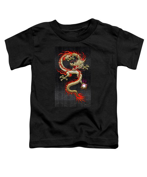 Golden Chinese Dragon Fucanglong  Toddler T-Shirt by Serge Averbukh