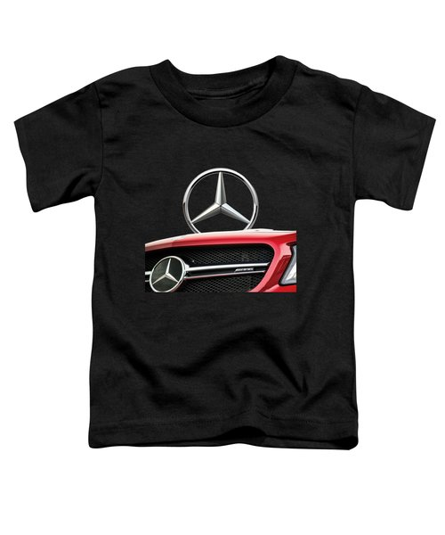 Red Mercedes - Front Grill Ornament And 3 D Badge On Black Toddler T-Shirt by Serge Averbukh