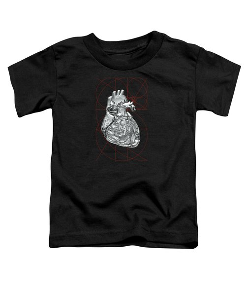 Silver Human Heart On Black Canvas Toddler T-Shirt