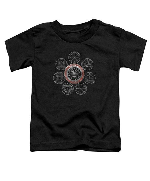 Silver Seal Of Solomon Over Seven Pentacles Of Saturn On Black Canvas  Toddler T-Shirt