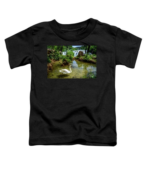 Swan In The Waterfalls Of Skradinski Buk At Krka National Park In Croatia Toddler T-Shirt