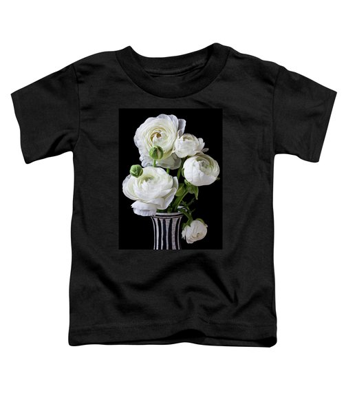 White Ranunculus In Black And White Vase Toddler T-Shirt