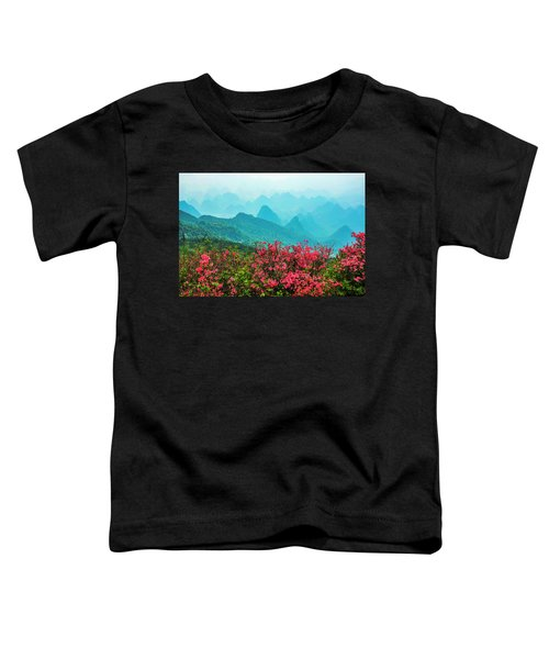 Blossoming Azalea And Mountain Scenery Toddler T-Shirt