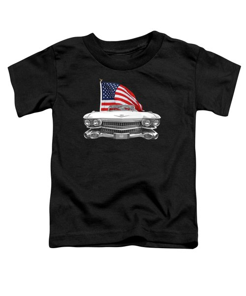 1959 Cadillac With Us Flag Toddler T-Shirt