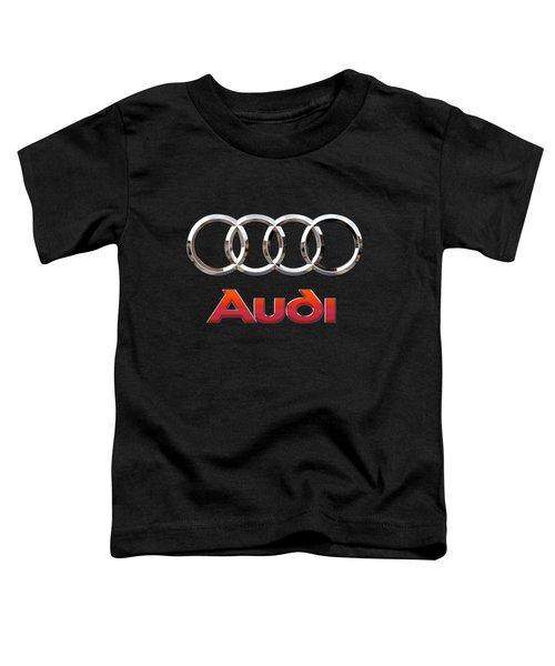 Audi - 3 D Badge On Black Toddler T-Shirt by Serge Averbukh