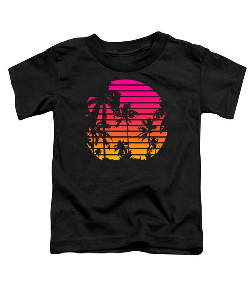 80s Tropical Sunset Toddler T-Shirt