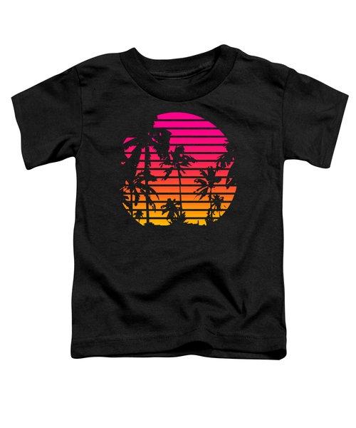 80s Tropical Sunset Toddler T-Shirt