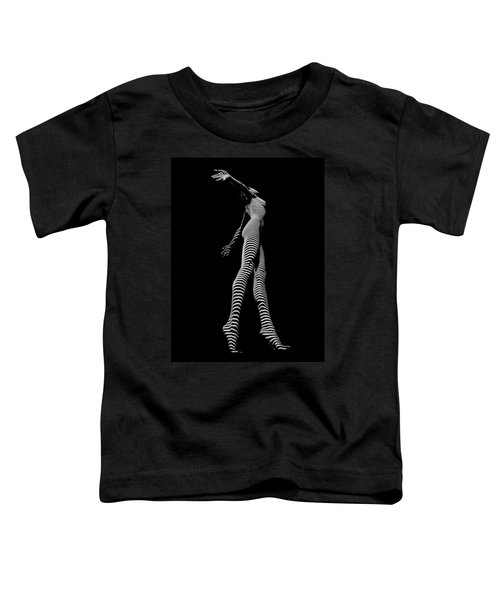 9825-dja Black And White Zebra Striped Woman Unique Perspective Fine Art Photograph By Chris Maher Toddler T-Shirt