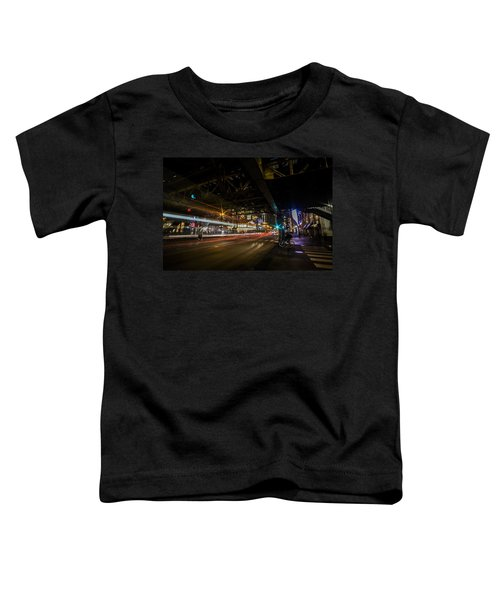 a nighttime look at Chicago's busy State and Lake Intersection Toddler T-Shirt
