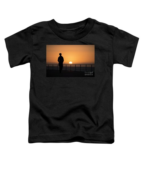 A Woman Silhouetted At Sunset Toddler T-Shirt