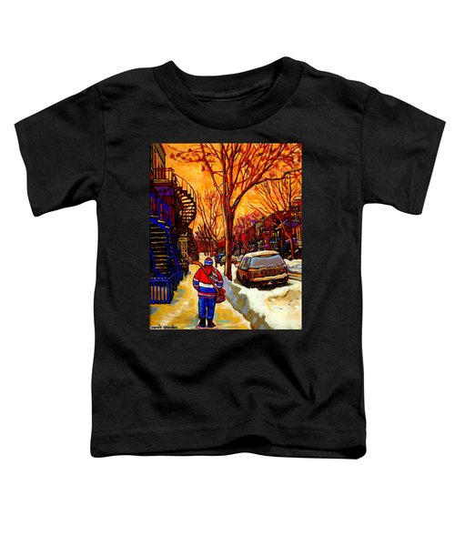 After The Hockey Game A Winter Walk At Sundown Montreal City Scene Painting  By Carole Spandau Toddler T-Shirt