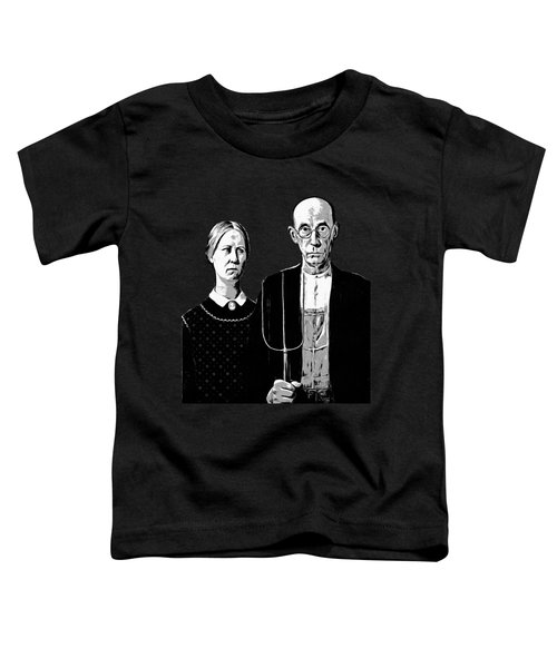 American Gothic Graphic Grant Wood Black White Tee Toddler T-Shirt