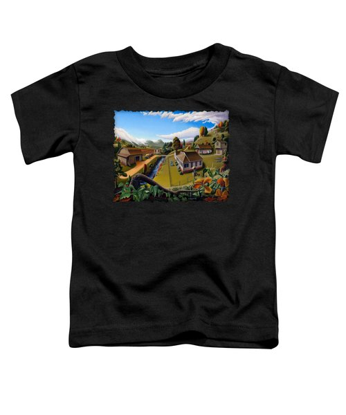 Appalachia Summer Farming Landscape - Appalachian Country Farm Life Scene - Rural Americana Toddler T-Shirt