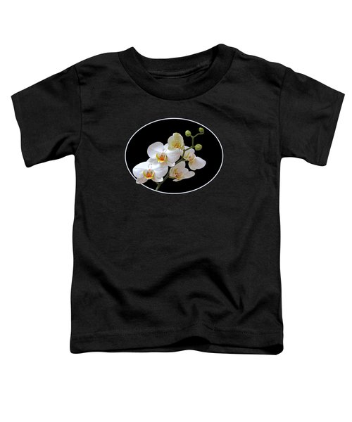 White Orchids On Black Toddler T-Shirt