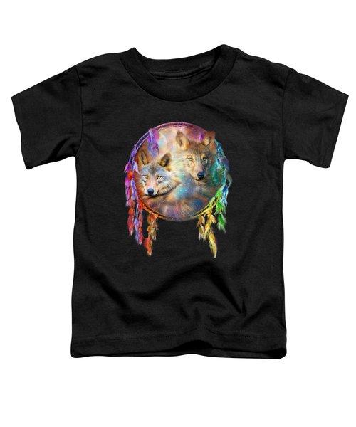 Dream Catcher - Wolf Spirits Toddler T-Shirt by Carol Cavalaris