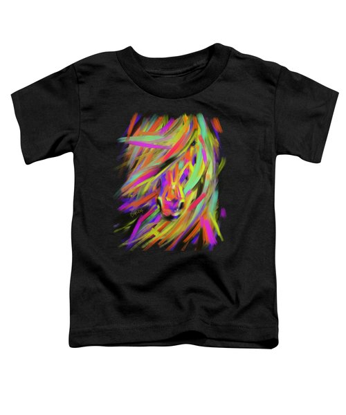 Toddler T-Shirt featuring the painting Horse Rainbow Hair by Go Van Kampen