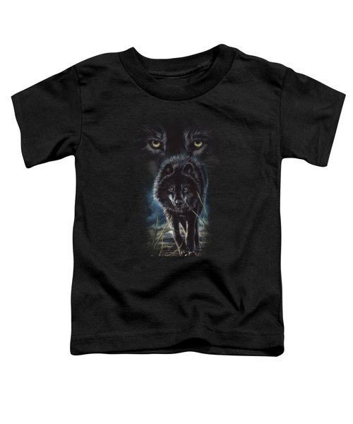 Black Wolf Hunting Toddler T-Shirt by Lucie Bilodeau