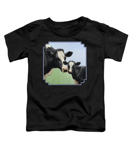 Holstein Cow And Calf Toddler T-Shirt by Crista Forest