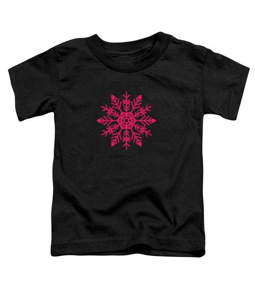 Snowflakes Rubine Red And White Toddler T-Shirt