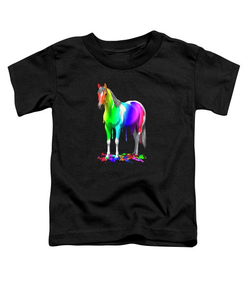 Colorful Rainbow Paint Horse Toddler T-Shirt