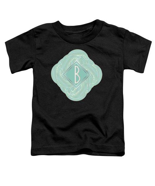 1920s Blue Deco Jazz Swing Monogram ...letter B Toddler T-Shirt