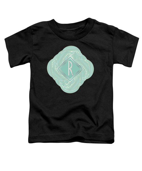 1920s Blue Deco Jazz Swing Monogram ...letter R Toddler T-Shirt
