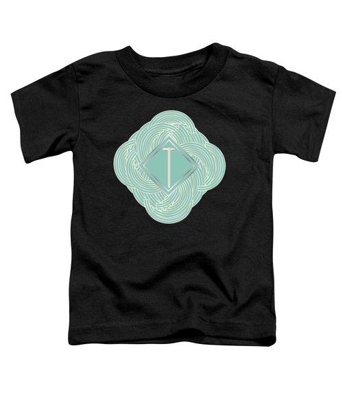 1920s Blue Deco Jazz Swing Monogram ...letter T Toddler T-Shirt