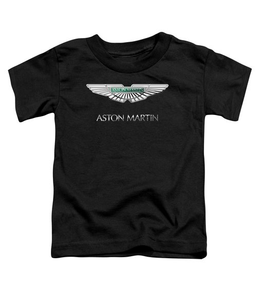 Aston Martin 3 D Badge On Black  Toddler T-Shirt by Serge Averbukh