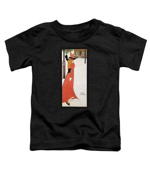 Aubrey Beardsley - Girl In Red Gown - Vintage Advertising Poster Toddler T-Shirt