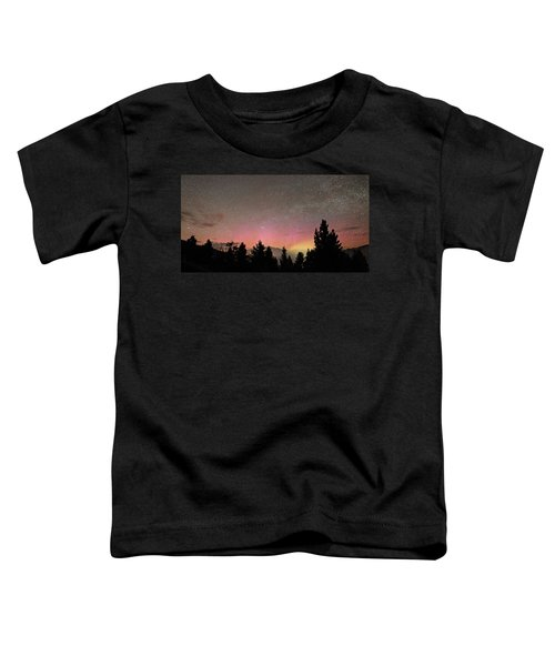 Aurora Borealis Over Mammoth Hot Springs In Yellowstone Np Toddler T-Shirt